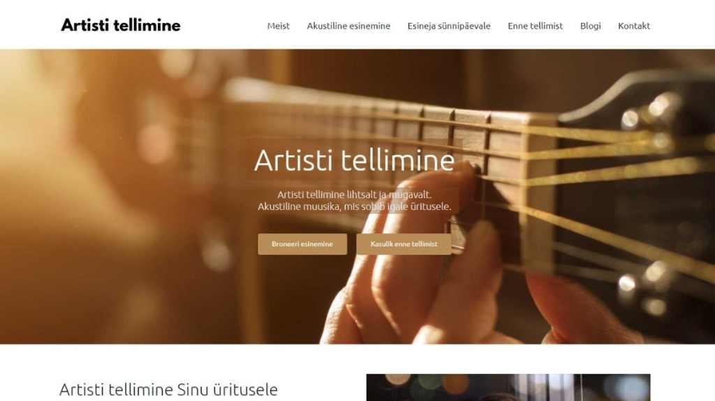 Artisti tellimine veebilehe tegemine